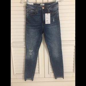 FOREVER 21 HIGH RISE SKINNY JEANS BLUE DISTRESSED